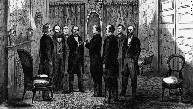 Andrew Johnson takes the oath of office from Chief Justice Salmon P. Chase in Washington on April 15, 1865, after the assassination of Abraham Lincoln.