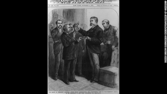 New York Supreme Court Justice John R. Brady administers the oath of office to Vice President Chester A. Arthur in a private ceremony in Arthur's residence in New York on September 20, 1881, after the assassination of President James A. Garfield.
