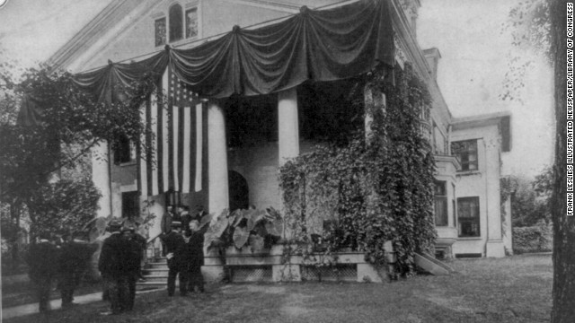 Theodore Roosevelt takes the oath of office in Buffalo, New York, on September 14, 1901, after the assassination of President William McKinley.