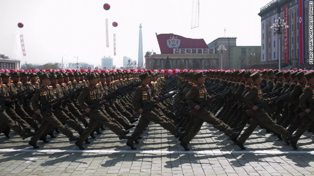 North Korean soldiers march during a military parade in Pyongyang on April 15, 2012.