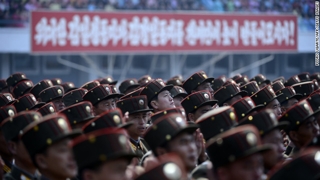 North Korean soldiers listen to a speech during an official ceremony attended by leader Kim Jong Un at a stadium in Pyongyang on April 14, 2012.