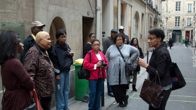 Julia Browne leads an African-American history tour in Paris. Browne launched Walking the Spirit Tours in 1994.