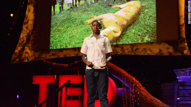Turere has been invited to speak at the TED 2013 conference in California about his invention. Here, he is practicing his presentation ahead of his speech Tuesday.