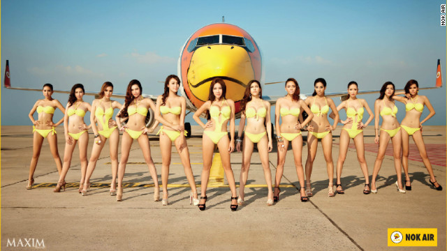 """Maxim models strike a pose for Thailand-based low-cost carrier Nok Air. CEO Patee Sarasin says it's """"hard to measure"""" if such advertising boosts sales."""