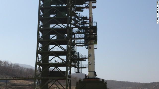 A closer look at the UNHA III rocket on its launch pad in Tang Chung Ri, North Korea.