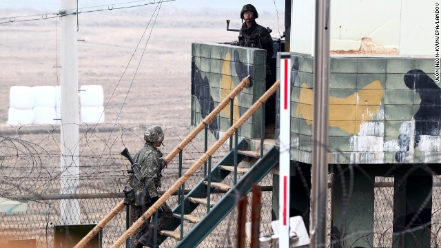 South Korean soldiers stand guard at a sentry post at the border with North Korea in the Demilitarized Zone near Imjingak, South Korea, on April 5, , as tensions have mounted on the Korean Peninsula.