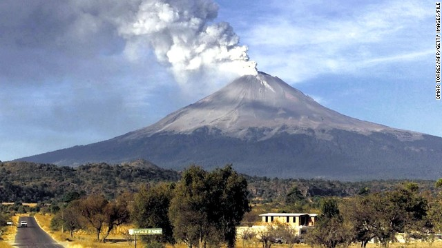 Smoke billows from the Popocatepetl volcano in 2000, when it last had a major eruption.