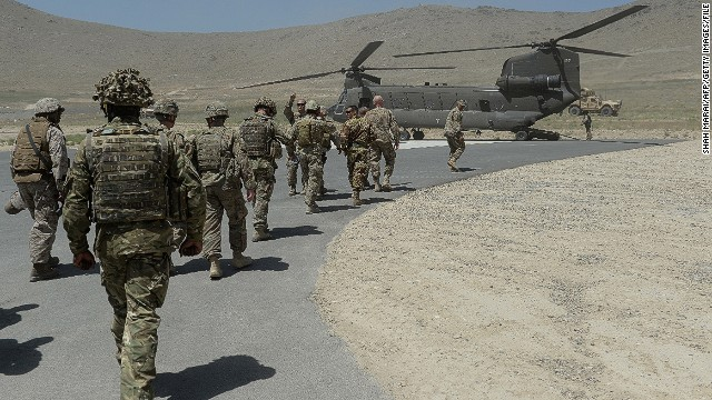NATO soldiers are shown outside Kabul, Afghanistan, in June.