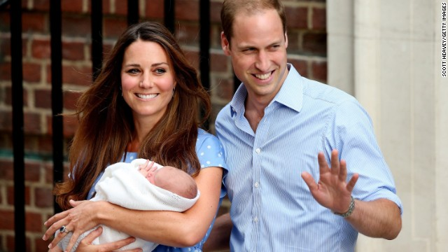 Prince William, Duke of Cambridge and Catherine, Duchess of Cambridge, depart St. Mary's Hospital with their newborn son on Tuesday, July 23, in London. The boy was born at 4:24 p.m. Monday, weighing 8 pounds, 6 ounces.