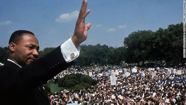 The Rev. Martin Luther King Jr. addresses a crowd near the Lincoln Memorial during the March on Washington for Jobs and Freedom on August 28, 1963. On the 50th anniversary of this historic civil rights event, we take a look back through rarely-seen color photographs from the day.