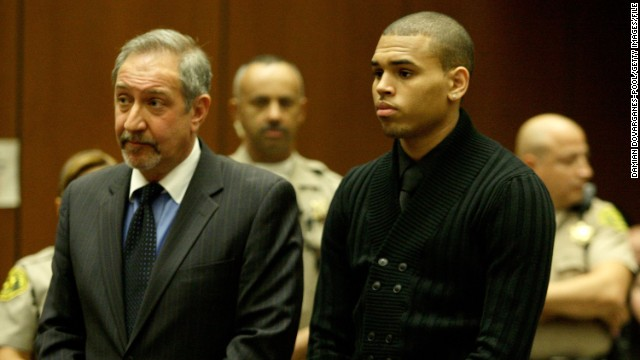 In April 2009, Brown pleads not guilty to felony charges of assault and making threats related to the Rihanna incident.