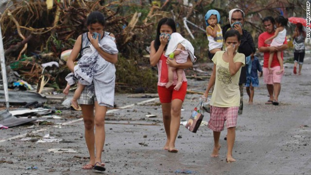 Image of residents evacuating from the typhoon hit areas