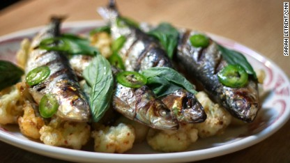 sardines with cauliflower florets