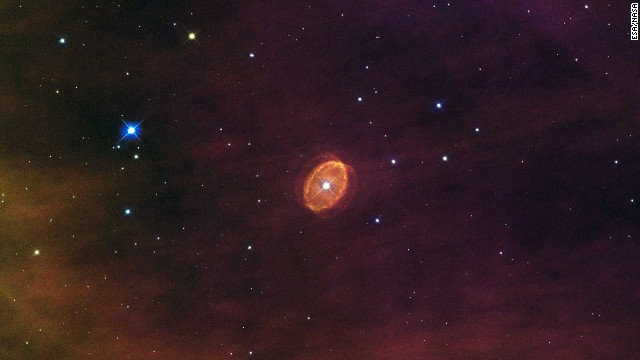 This Hubble image looks a floating marble or a maybe a giant, disembodied eye. But it's actually a nebula with a giant star at its center. Scientists think the star used to be 20 times more massive than our sun, but it's dying and is destined to go supernova.