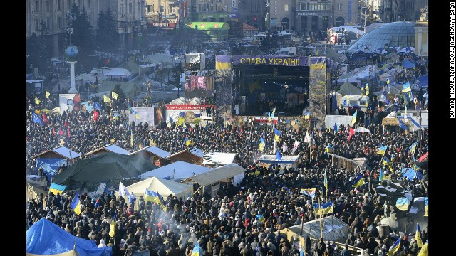 A large crowd of protesters gather in Kiev on February 2.