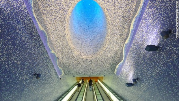One of Naples' so-called Metro Art Stations, Toledo station was designed around themes of water and light.