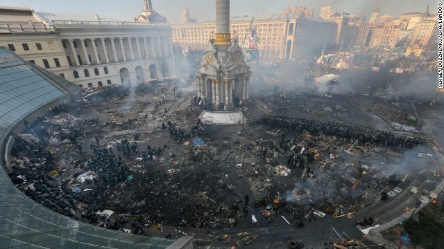 Independence Square smolders during protests on February 19.