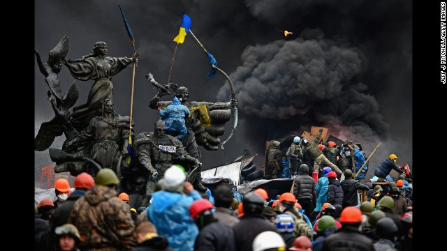 Ukrainian protesters continue to clash with police in Independence Square in the capital of Kiev on Thursday, February 20. Thousands of anti-government demonstrators have packed the square since November, when President Viktor Yanukovych reversed a decision on a trade deal with the European Union and instead turned toward Russia.