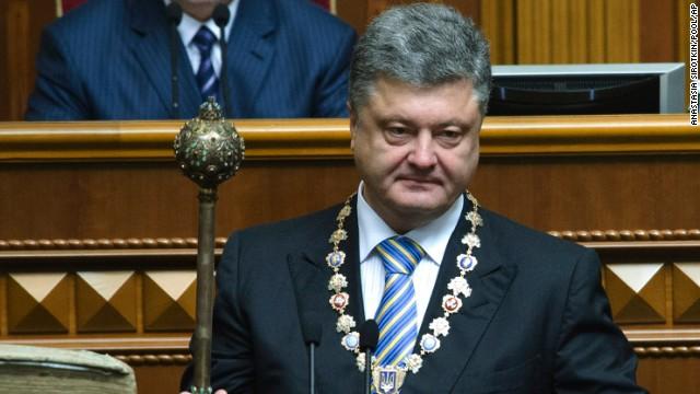 President Petro Poroshenko at inauguration holding bulava.