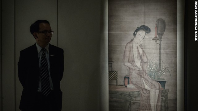 Chinese erotic artwork at a Sotheby's exhibition recently held in Hong Kong.