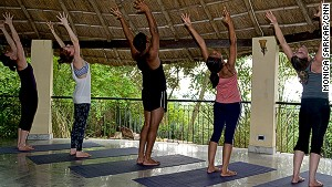 Basunti morning yoga sessions start at 7 a.m. in the thatched-roof shala.