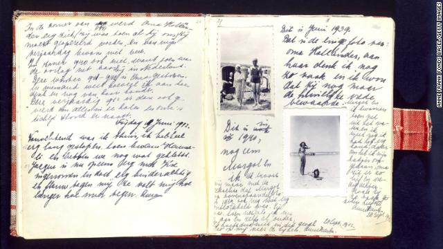 Image and Caption from CNN: A handwritten page of Anne Frank's diary includes photos of herself on the beach during a holiday with her sister, Margot. The two sisters would live hidden in the annex with their mother, Edith; father, Otto; and another family.