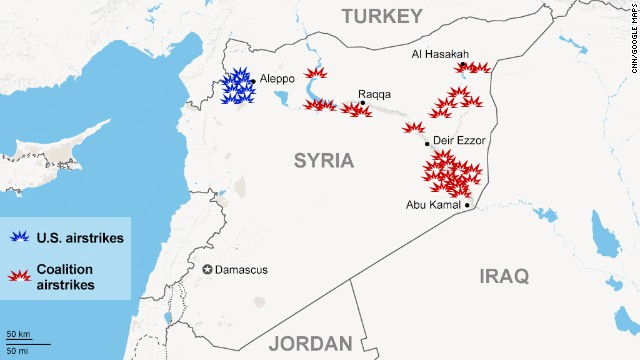 Map: Airstrikes in Syria