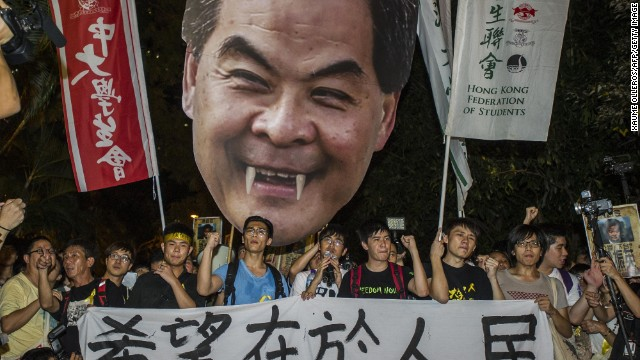 Students march to Government House in Hong Kong on Thursday, September 25.