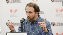 Former Ebola patient Dr. Richard Sacra participates in a news conference at the Nebraska Medical Center in Omaha, Nebraska, on Thursday, Sept. 25, 2014. He was treated at the hospital and released. He was hospitalized again Saturday in Massachusetts with a cough and fever. Doctors there don't believe his symptoms point to a recurrence of Ebola.