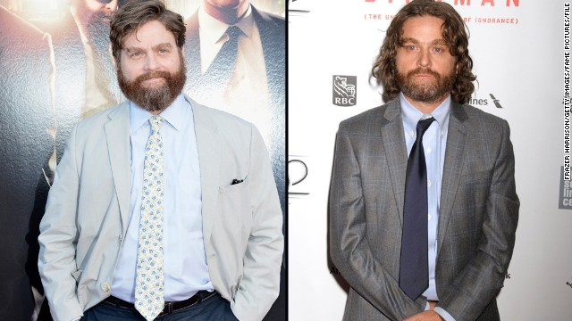 """Is that you, Zach Galifianakis? If it weren't for the scruff, we might not recognize the comedic actor and """"Between Two Ferns"""" host as he arrived at a New York Film Festival screening of his newest movie, """"Birdman,"""" on Saturday, October 11. The actor first started slimming down in 2013, <a href='http://teamcoco.com/video/zach-galifianakis-drinking' target='_blank'>when he decided to stop drinking. </a>"""