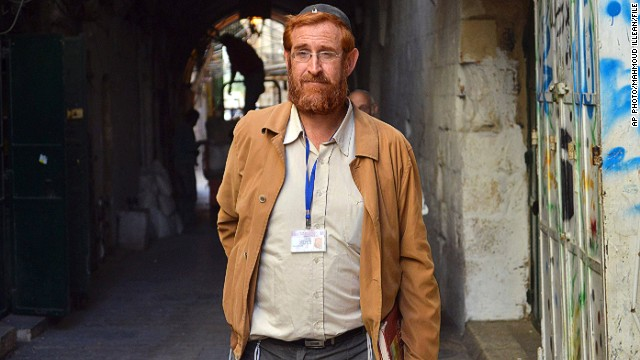 Jewish activist Yehuda Glick is shown on a street in Jerusalem in November 2013. He was injured in a shooting Wednesday.