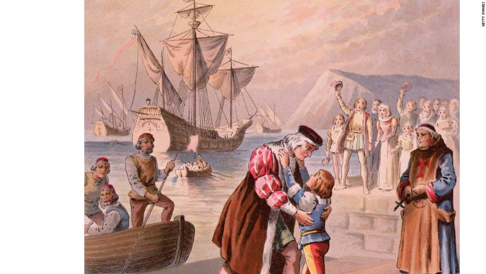Christopher Columbus bids farewell to his son Diego at Palos, Spain, before embarking on his first voyage on August 3, 1492.