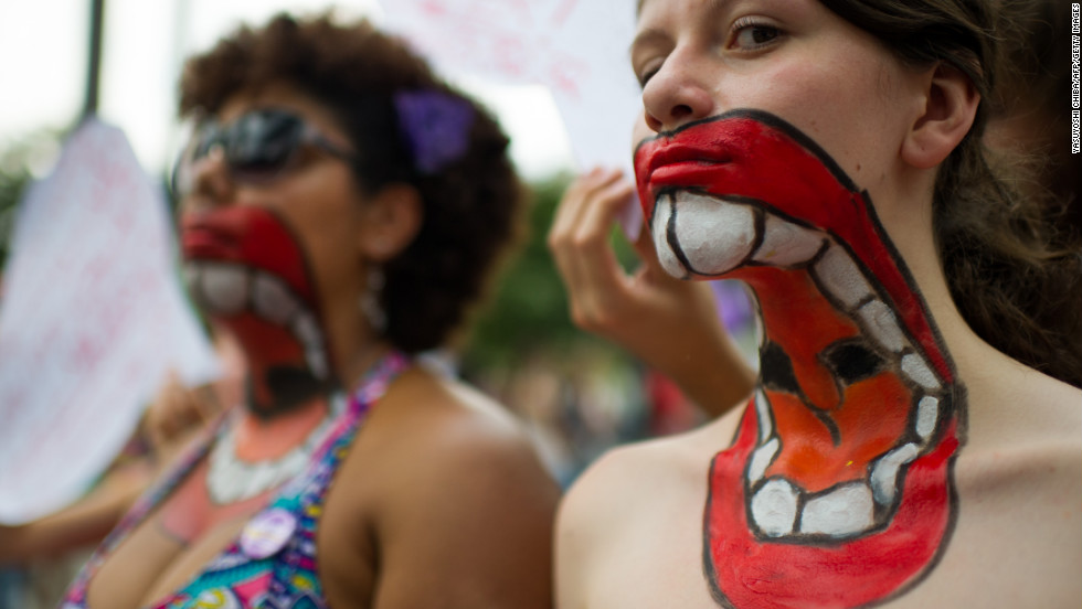 In Sao Paulo, Brazil, women protest violence towards women, on International Women's Day in 2013.