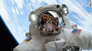 Mike Hopkins during a 2013 spacewalk.