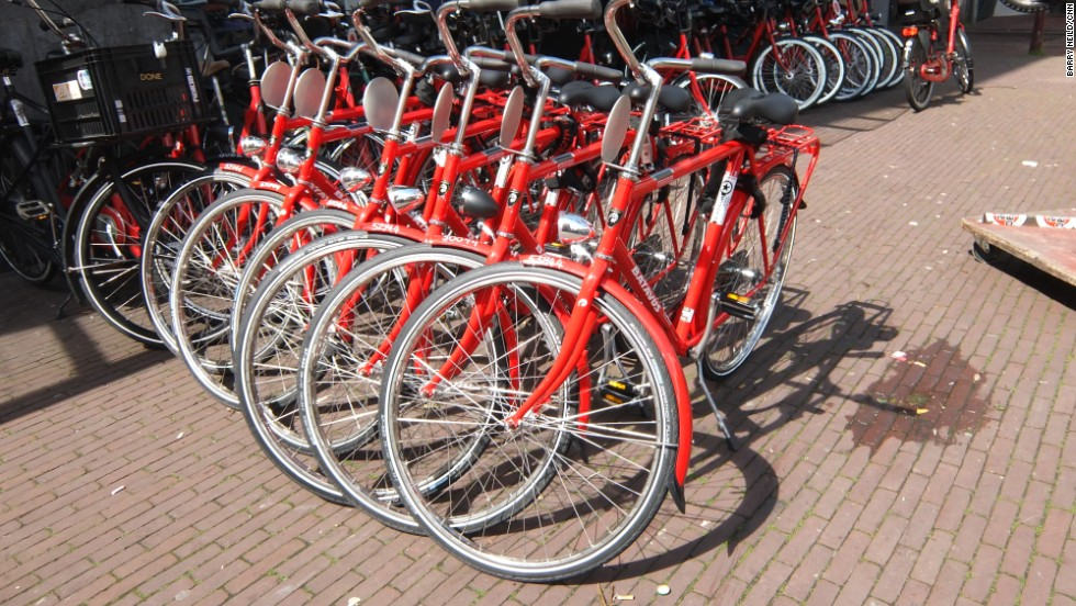 Bikes are a great way of getting around Amsterdam. The city has about 4,000 kilometers (2,480 miles) of cycle paths and so many bikes it's like the Tour de France for normal riders.