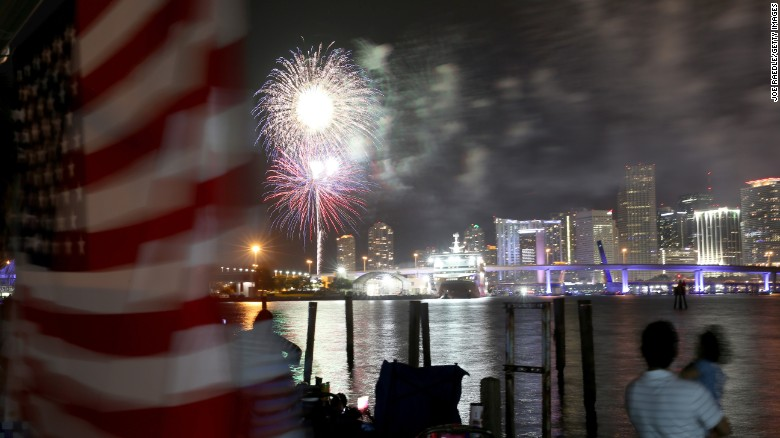 MIAMI, FL - JULY 04:  Spectators watch a 4th of July fireworks display over downtown Miami from Watson Island in Miami, Florida.