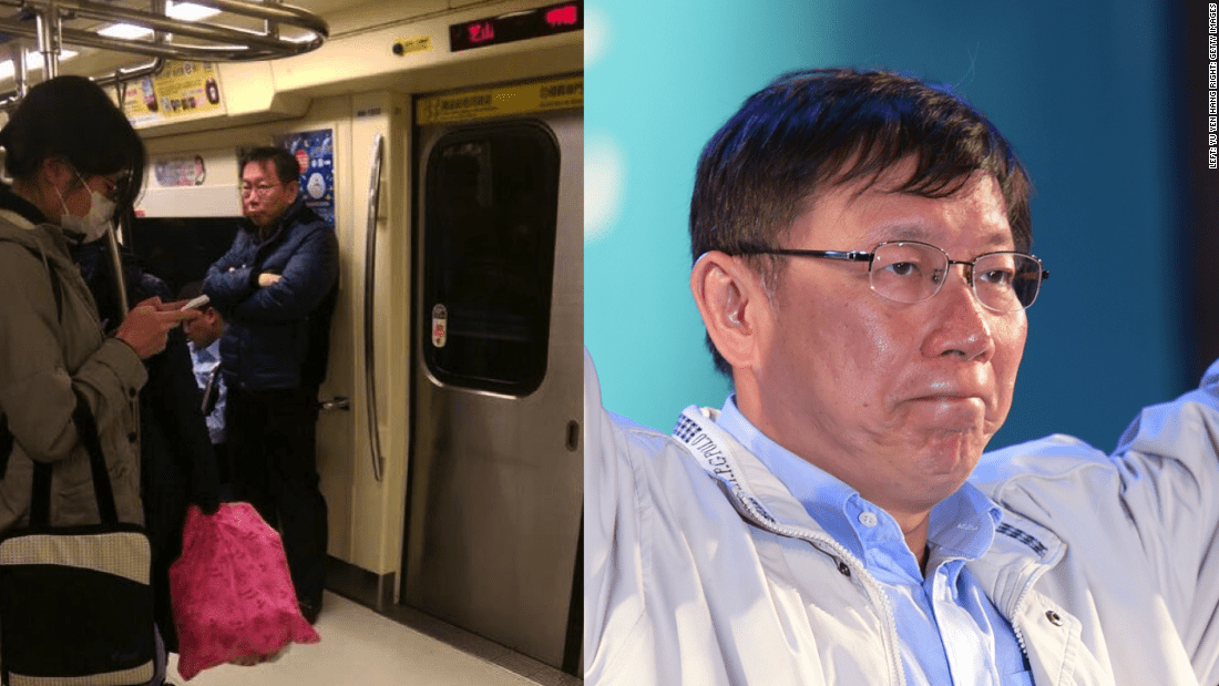 "In this viral photo (left) posted to Facebook by Yu Yen Huang, Taipei's new mayor Ko Wen-je is seen standing alone aboard a subway train. ""It's definitely unusual for a politician to do like this,"" Yu told CNN. ""Normally they go out with luxury cars, several body guards."""