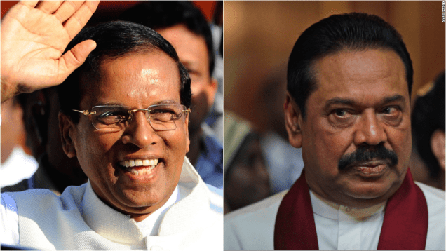 Opposition candidate Maithripala Sirisena (left) is up against incumbent Mahinda Rajapaksa in Sri Lanka's presidential elections.