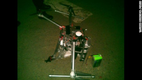 Tijuana police post photo of crashed drone.