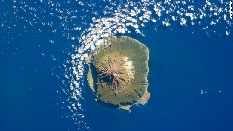A lonely spot of land in the ocean. Tristan da Cunha as pictured from space.