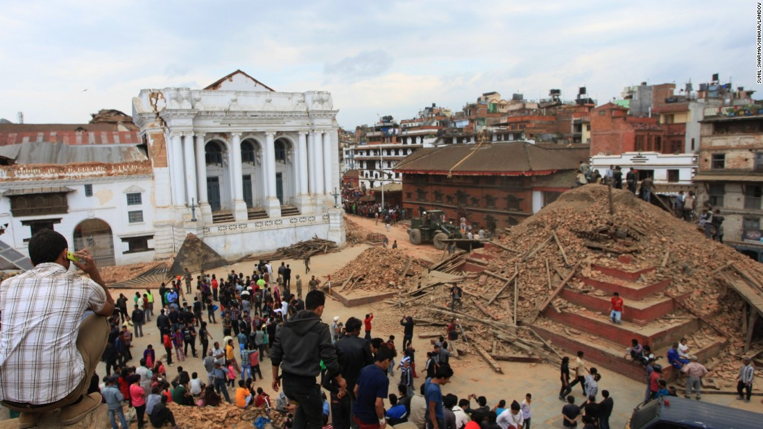 A temple on Hanumandhoka Durbar Square lies in ruins after an earthquake in Kathmandu, Nepal, on April 25.