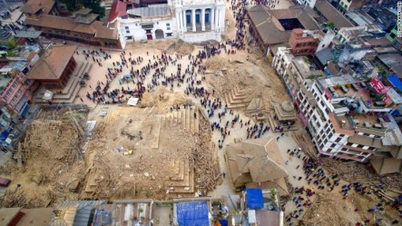 A drone captured an aerial view of Kathmandu, Nepal following the deadly earthquake on April 25.