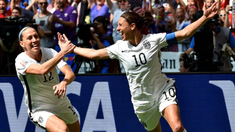 USA's Carli Lloyd, No. 10, scores her second of three goals against Japan in the FIFA Women's World Cup final Sunday.