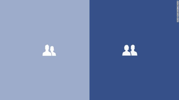 "Facebook's new ""Friends"" icon, right, shows the woman in front of the man and of equal size."