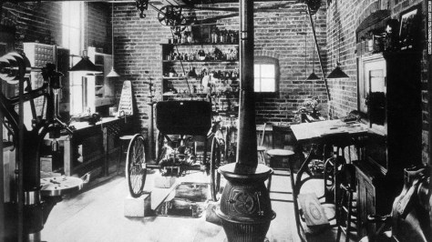 In 1890, Ford constructed his first car in this workshop. He was still learning the nuts and bolts, so to speak, and he took a job in an electrical plant in 1891 to expand his knowledge of machinery and systems. Within five years, he was chief engineer of the local Edison Electric Illuminating Co.