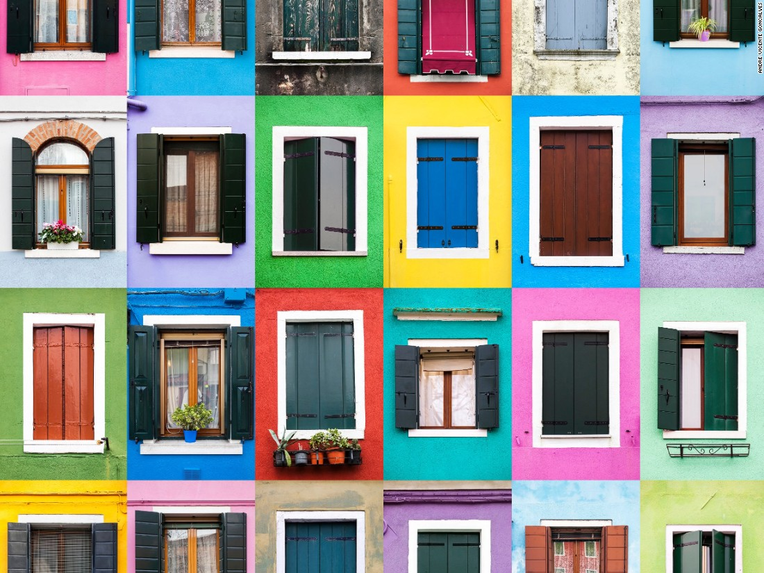Andre Vicente Goncalves, 28, has photographed more than 3,600 windows across Europe. He collects images from the same town or city to create stunning composite images.