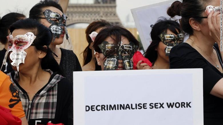 Sex workers demonstrate in Paris.