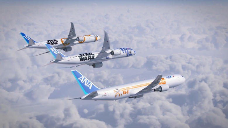"""In 2015, ANA Airlines revealed three new """"Star Wars""""-themed planes, dedicated to the characters BB-8 and R2-D2."""