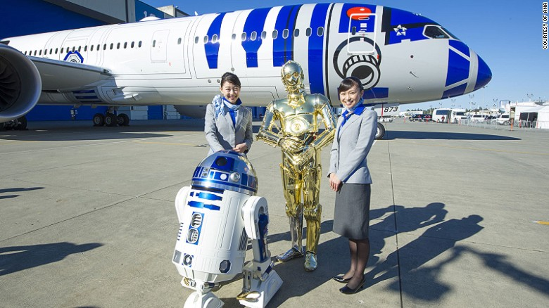 """ANA Airlines has a fleet of """"Stars Wars"""" themed jets."""