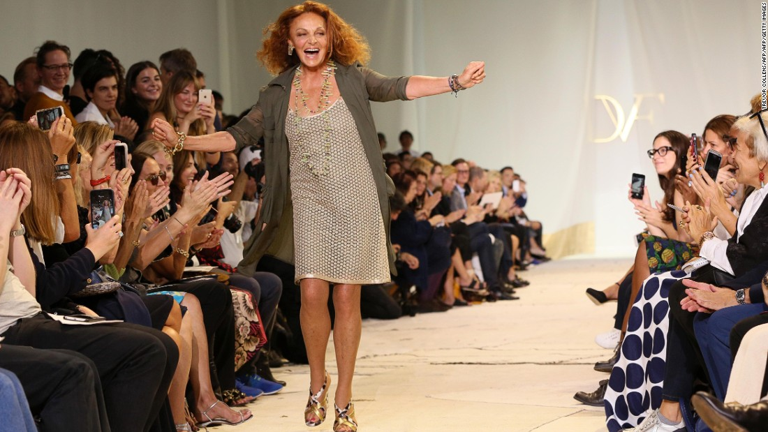 Diane Von Furstenberg takes a bow after the show.
